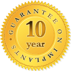 10 year guarantee on implants